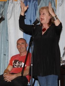 Denise Scott entertaining the crowd with MC Simon Northeast