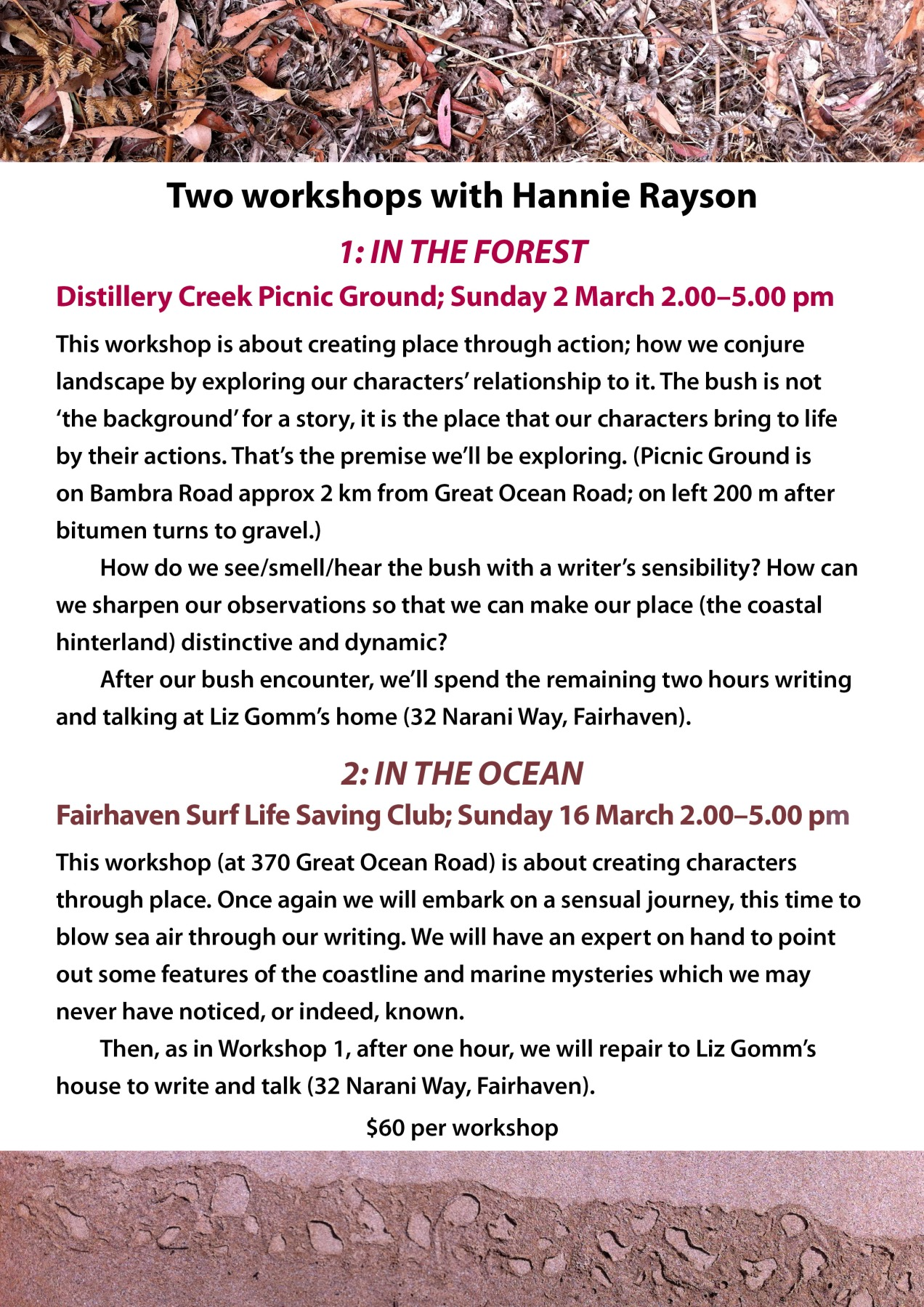 Hannie Rayson Writers Workshops: In the Forest & In the Ocean